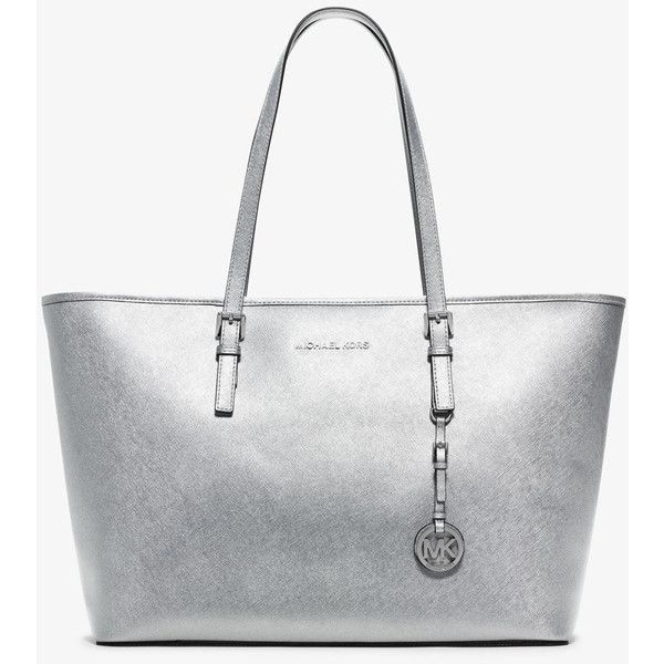 75f30325a290 Michael Kors Silver Jet Set Travel Medium Saffiano Leather Tote (€225) ❤  liked on Polyvore featuring bags, handbags, tote bags, michael kors tote,  white ...