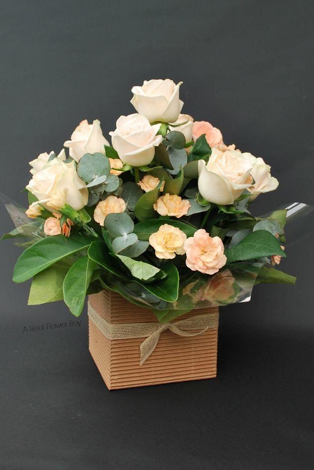 Posy Box of Cream roses, carnations, eucalyptus and viburnum