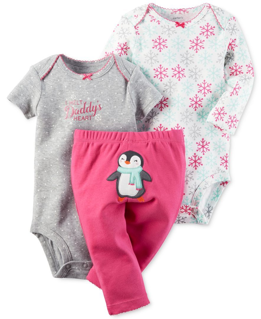 Carter Baby Girls Snowflake Bodysuits Penguin