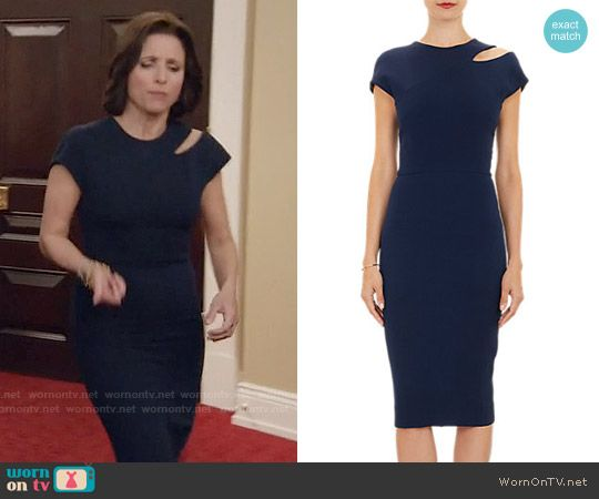 d8c1c7a3352 Selina s navy dress with shoulder cutout on Veep. Outfit Details  https