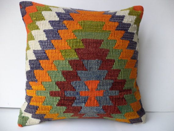 "KİLİM PİLLOW,16""x16"" inch Home Sofa Decor Turkish Kilim Pillow Cover,Anatolian Area Zigzag Pattern Kilim Rug Pillow Cover."