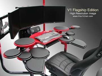 used computer chairs church 4 less reviews futuristic custom desk technology pinterest gaming the v1 can be as a chair flight simulator racing video editing workstation personal movie theater