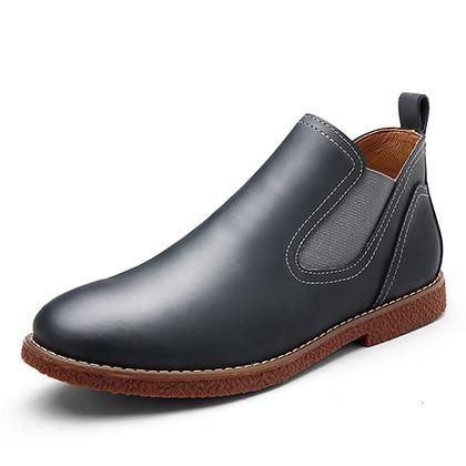 leyou leather chelsea boots men shoes leather ankle boots