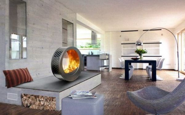 modern round fireplace for minimalist living room interior designs