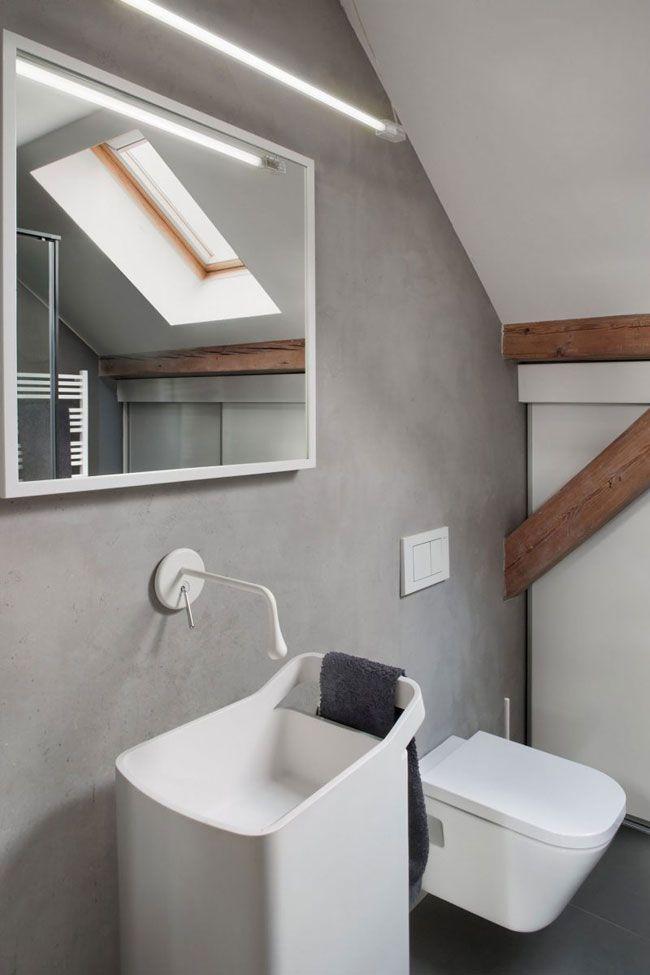salle-de-bain-avec-mur-beton Bathroom Pinterest