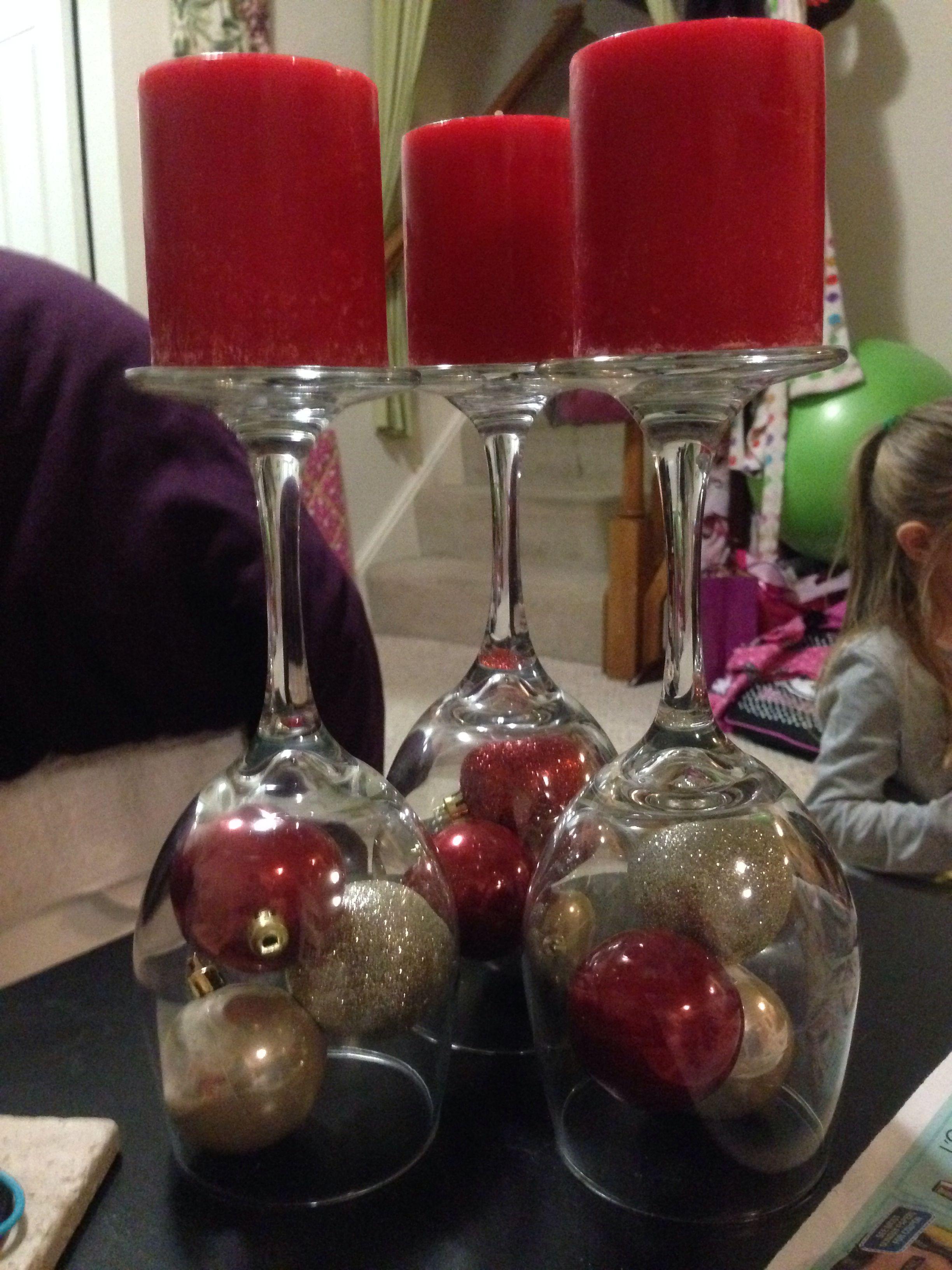 Wine Glass Candle Holders Wine Glass Candle Holder Wine Glass Candle Glass Christmas Ornaments