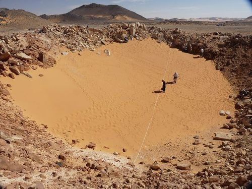 This crater, located in a remote area of the Sahara desert, was discovered by researchers using Google Earth. And that's actually not even the c...