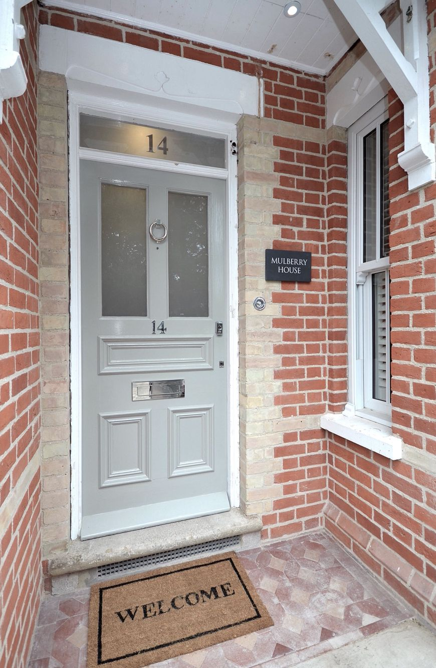 Red brick entrance porch, Edwardian front door painted in Farrow ...