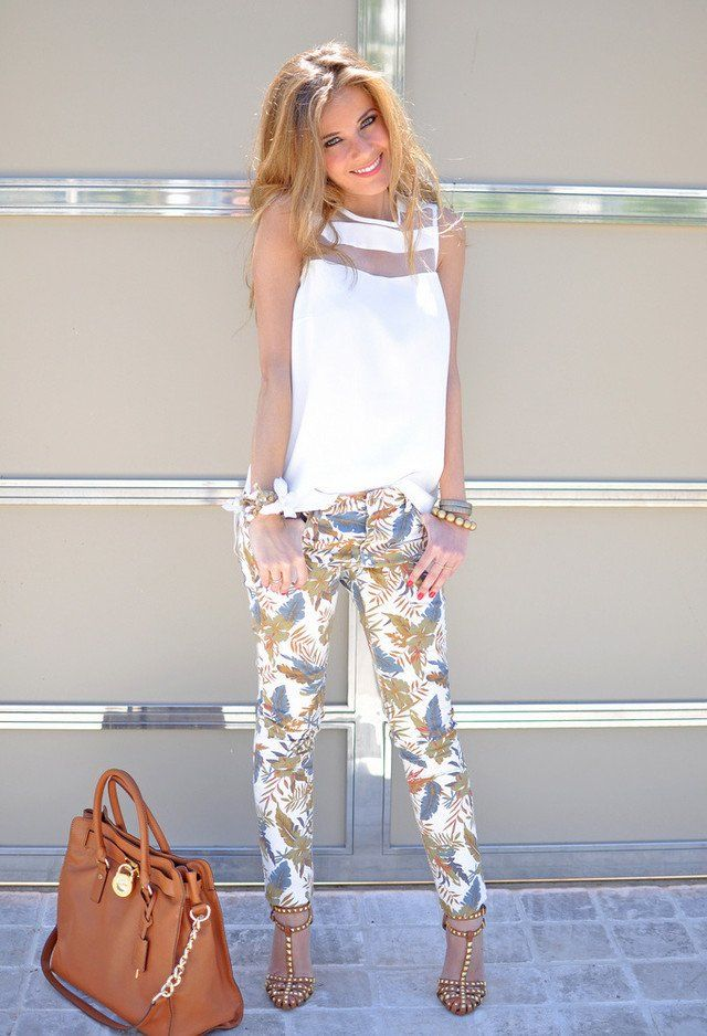 fd55814dec5af  roressclothes closet ideas  women fashion Beautiful White Outfit with Printed  Pants