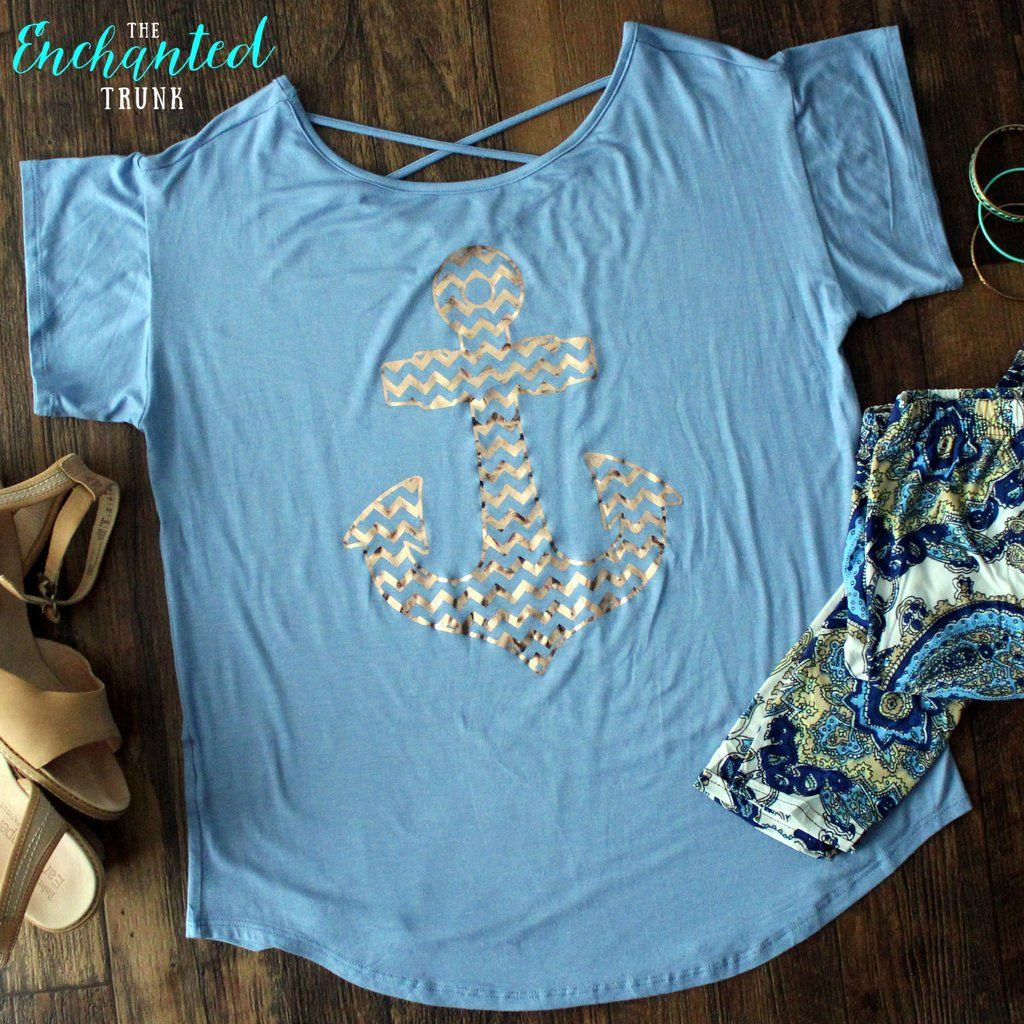 Anchors Away Tee S-L - Nautical tee with rose gold chevron graphic and corset back detail.