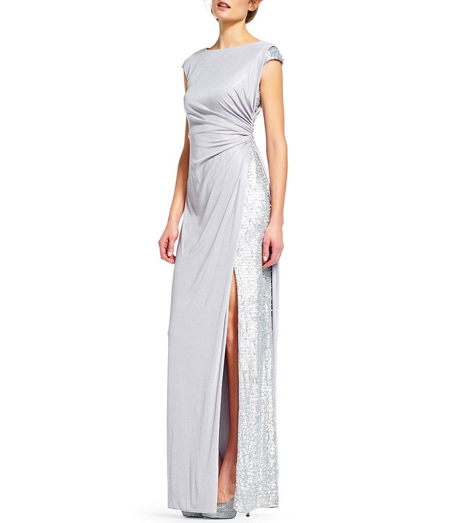 Adrianna Papell Jersey Draped Sequin Inset Gown SALE $134 | wedding ...