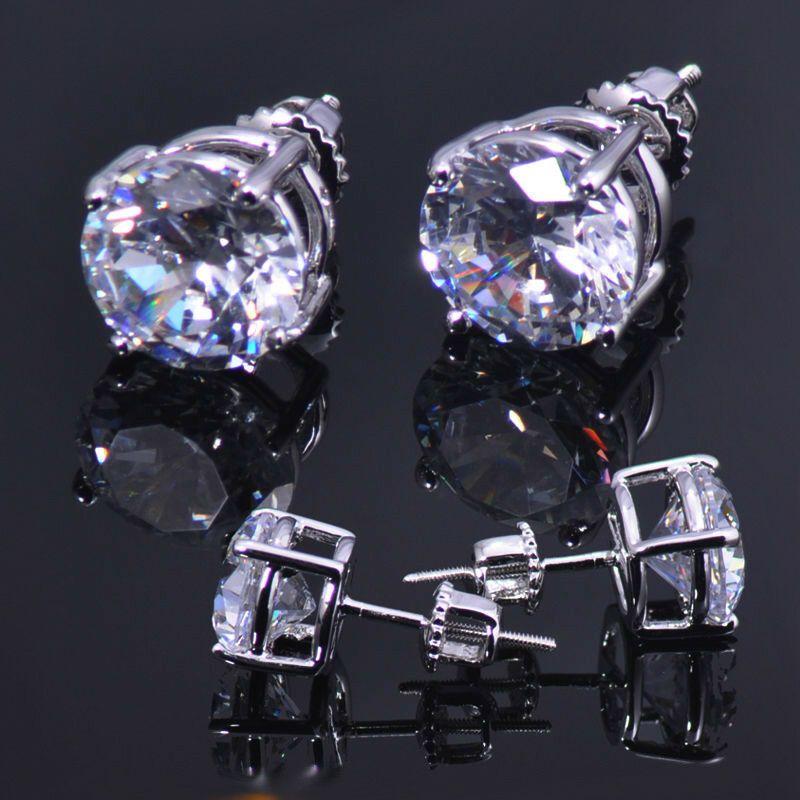 96cca6d15 Mens Ladies 3.00 ct Lab Diamond 18K White Gold Over Screw Back Stud  Earrings 8mm #daisylondon #Stud