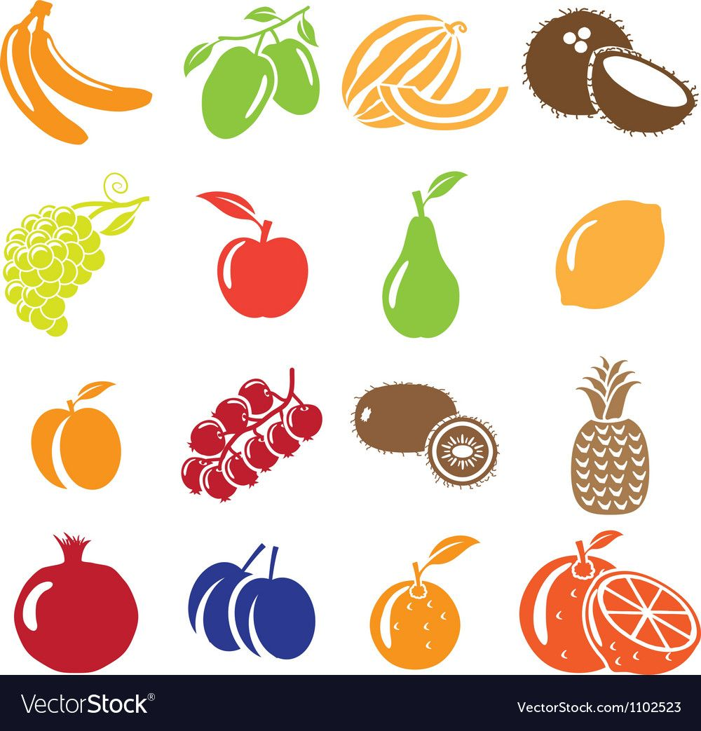 Set of fruits and vegetables icons Royalty Free Vector