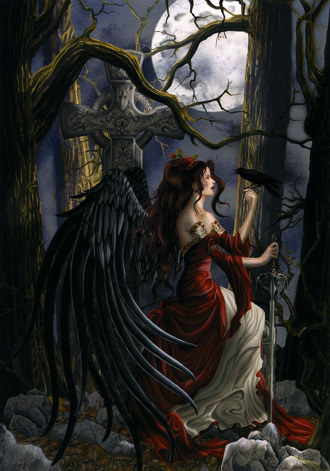 Stunning GOTHIC ANGEL With CROW QUALITY CANVAS PRINT A2 Fantasty Poster