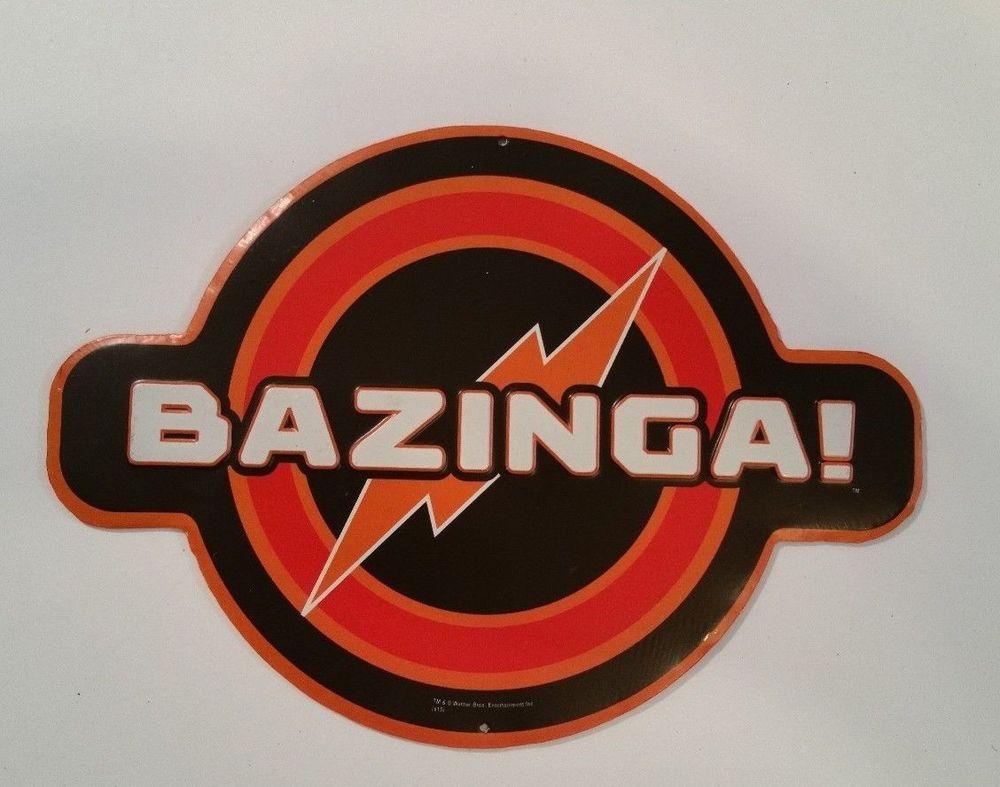 BIG BANG THEORY BAZINGA METAL DISPLAY tv show sheldon humor red orange tin sign! #bazinga