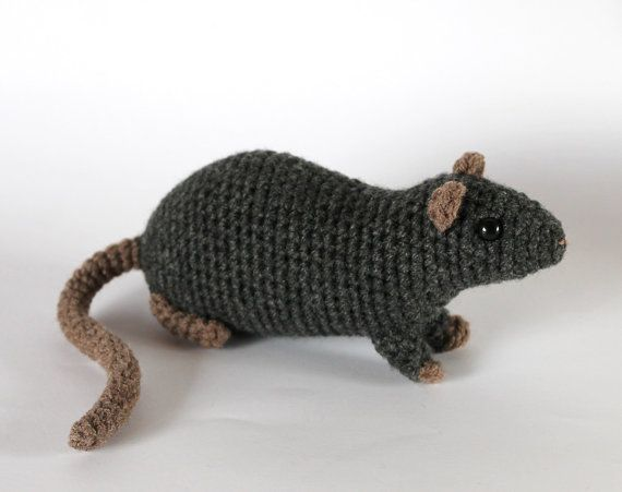 Amigurumi Rat : Gray rat crocheted toy rats crochet and etsy