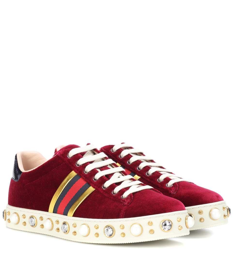 Ace red velvet sneakers
