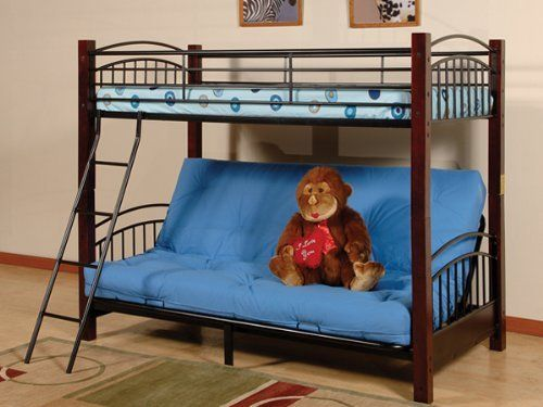 Twin Futon Metal Frame With Wood Posts Bunk Bed And Futon By