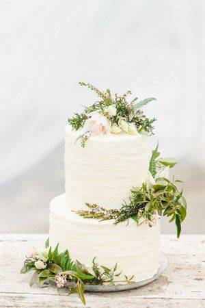 White Tiered Wedding Cake With Botanical Decor Brides Of