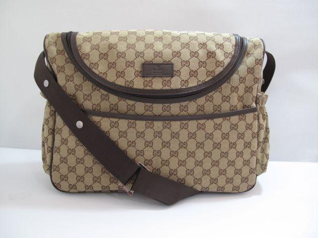 d69490100525 Gucci GG Canvas Diaper Bag Brown   GUCCI GG CANVAS DIAPER BAG BROWN ...