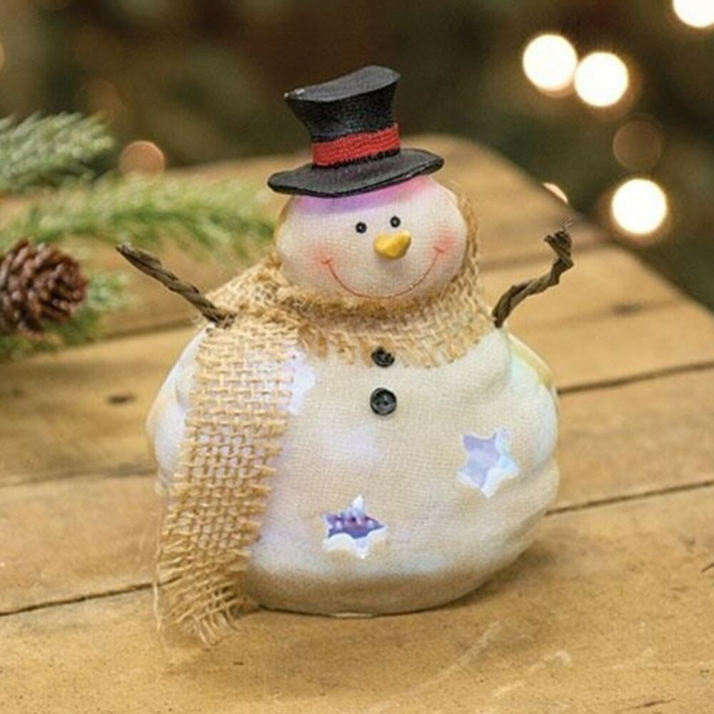 Led Holiday Snowman Figurine With Top Hat And Scarf Changes Colors Lights Up Cwi Snowman Figurine Holiday Snowmen Holiday Decor Christmas