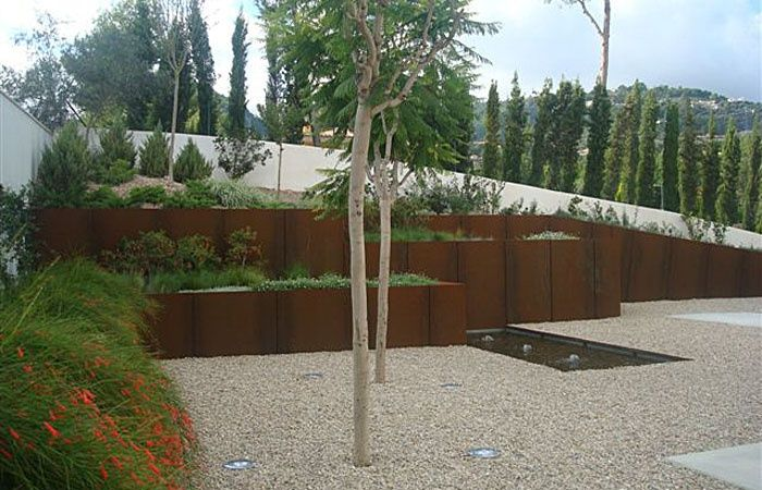 Corten steel retaining wall  Pinned to Garden Design - Walls