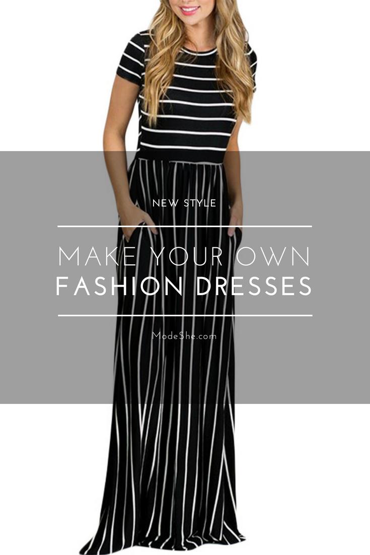 White black striped short sleeve maxi dress in modeshe