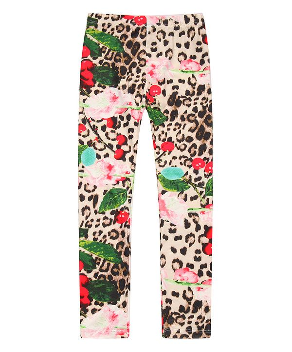 c9dce43e3e9ac Look at this Tan Leopard Floral Leggings - Toddler & Girls on #zulily today!
