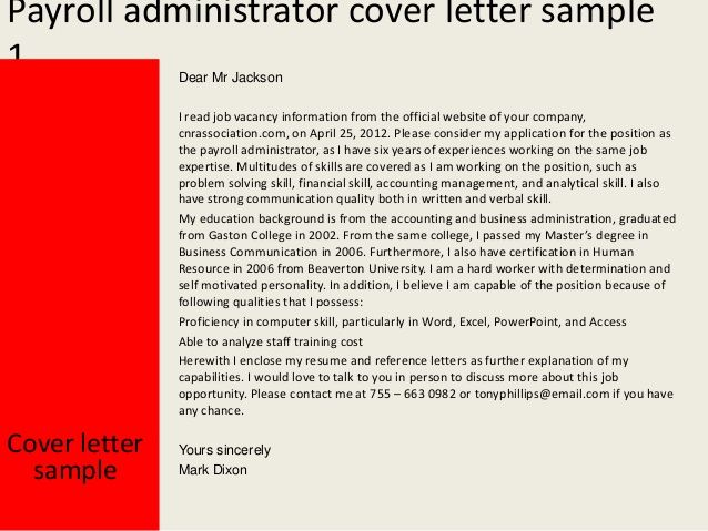 Payroll Administrator Cover Letter Good Luck With Your Job