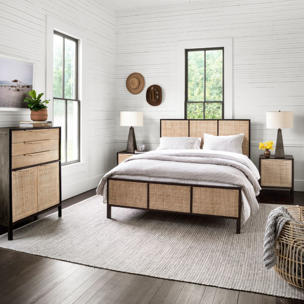 Sydney Woven Cane Queen Platform Bed in 2020 (With images