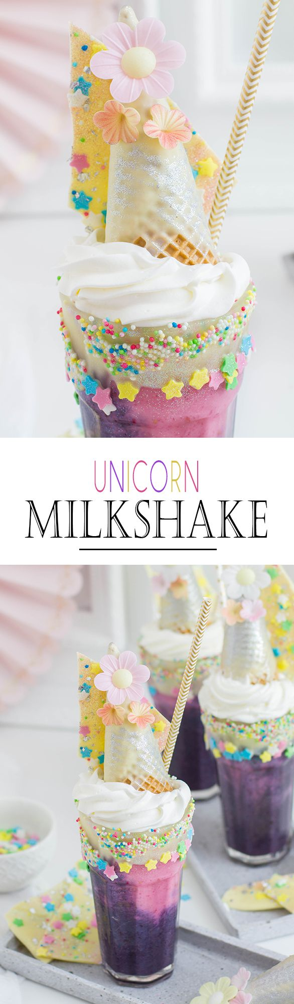Berry Unicorn Milkshake with Sprinkles and White Chocolate | Beeriger Einhorn Milchshake mit Streuseln und weißer Schokolade