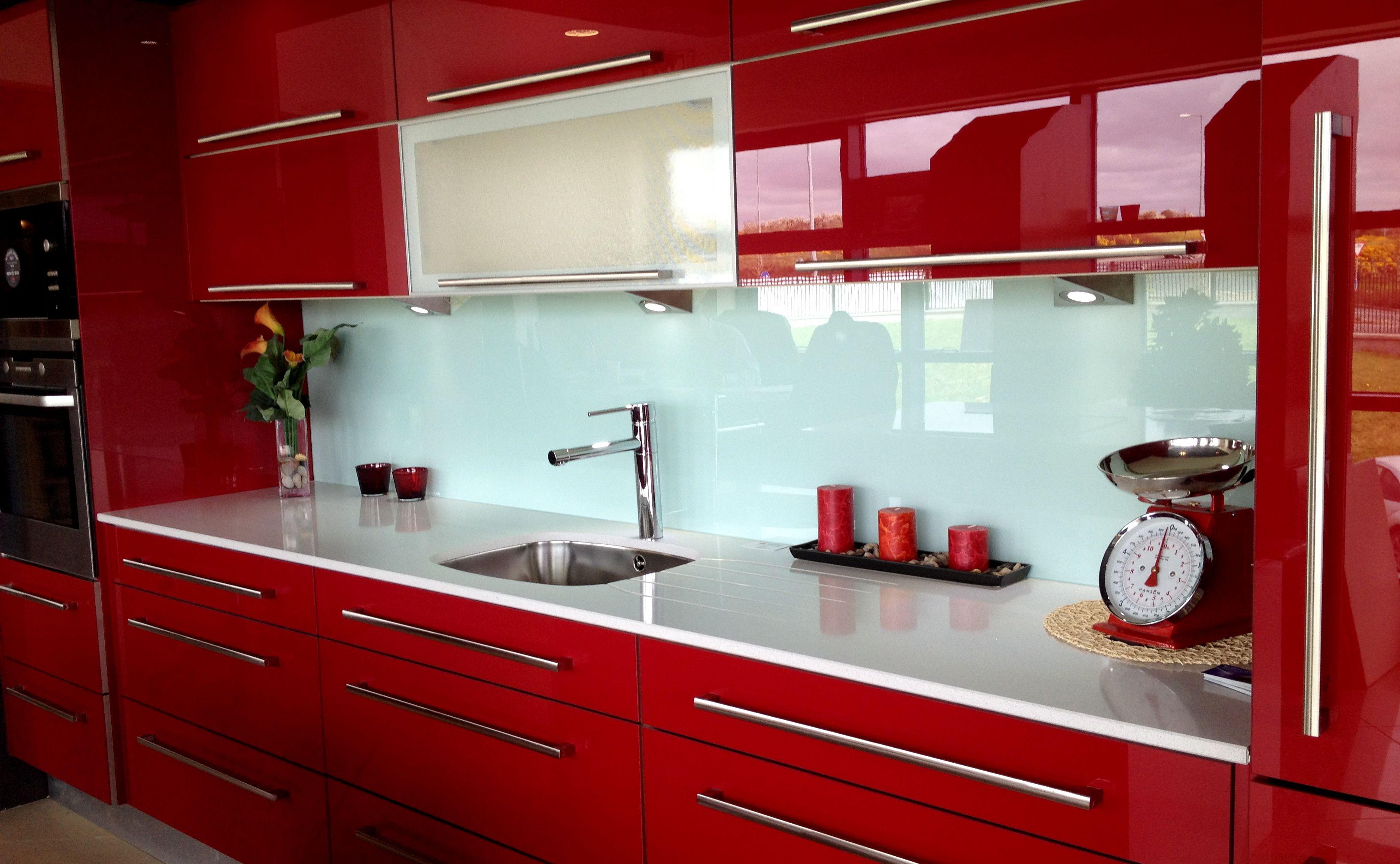 Aqua Marine Glass Kitchen Splashback With High Gloss Kitchen