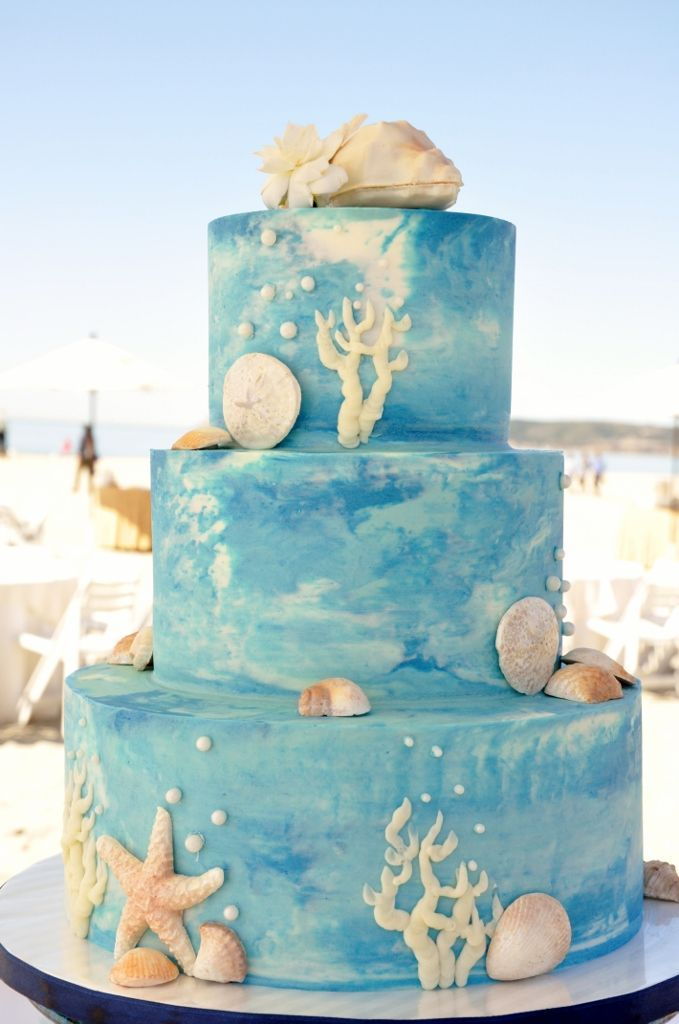 buttercream wedding cake - underwater feel.  (different color icings swirled together like that would be a good way to incorporate all my colors)