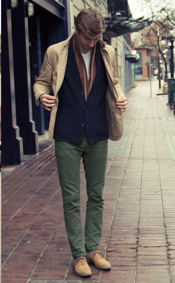 Green pants, white tee, navy cardigan, khaki blazer/jacket, tan shoes