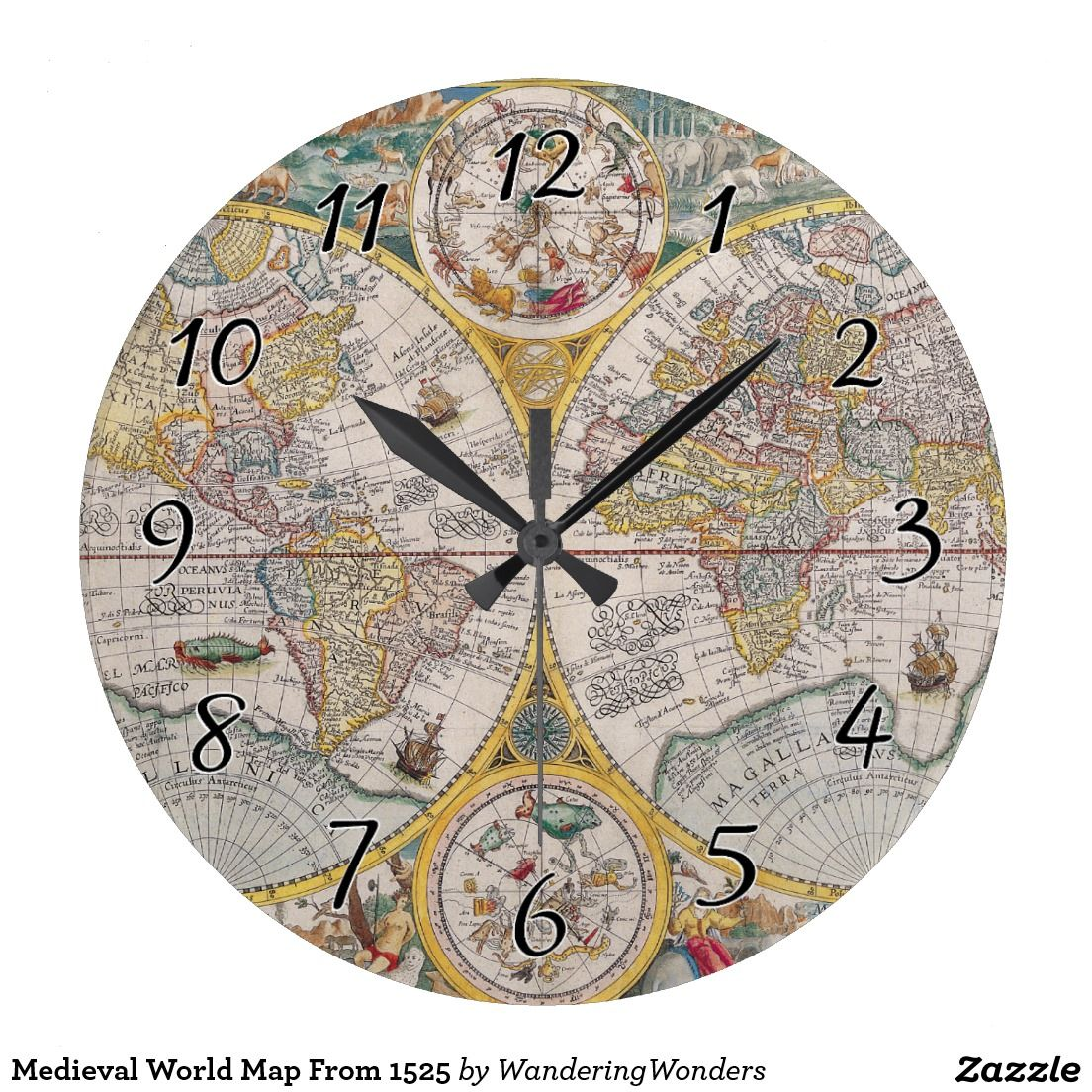 Medieval world map from 1525 large clock medieval medieval world map from 1525 large clock gumiabroncs Gallery