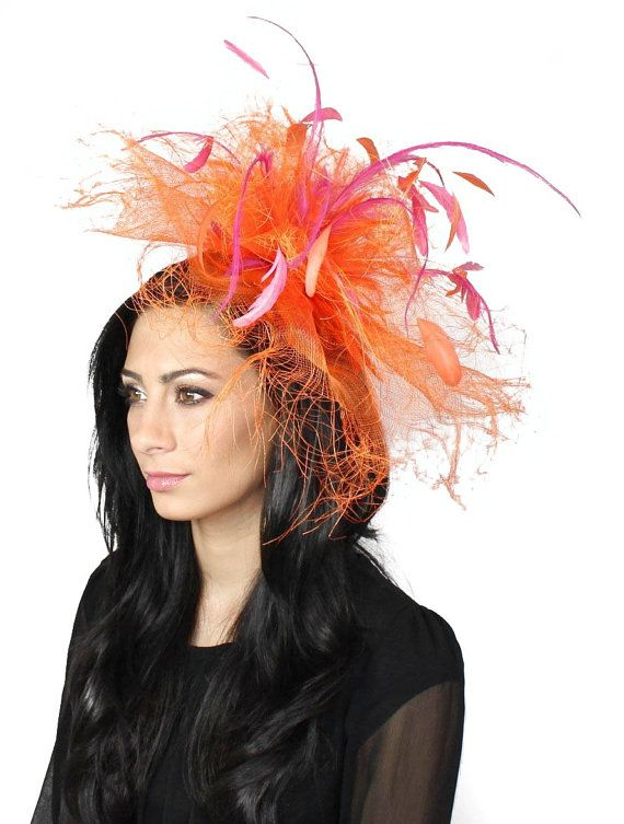 Vulture Orange and Fuchsia Fascinator Hat for Weddings 8b87f78b632