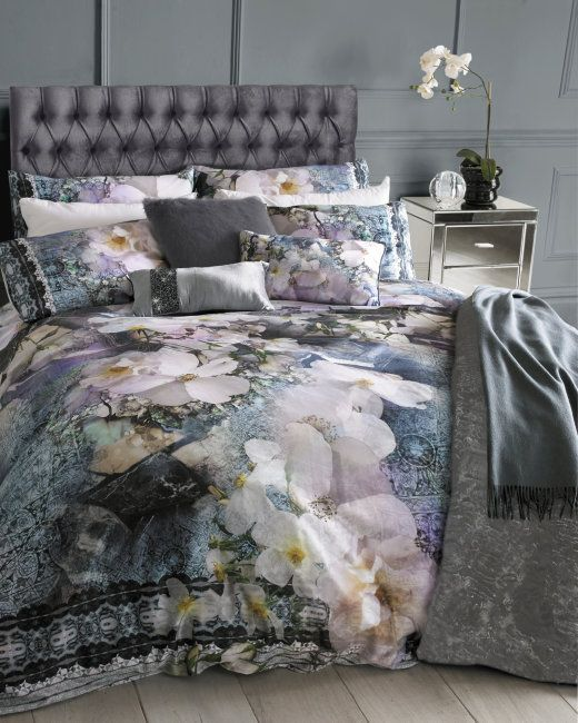 Tile Floral Geo King Size Duvet Cover Navy Gifts For