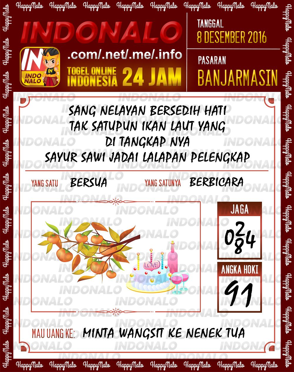 Angka Kumat 4D Togel Wap Online Live Draw 4D Indonalo Banjarmasin 8 Desember 2016