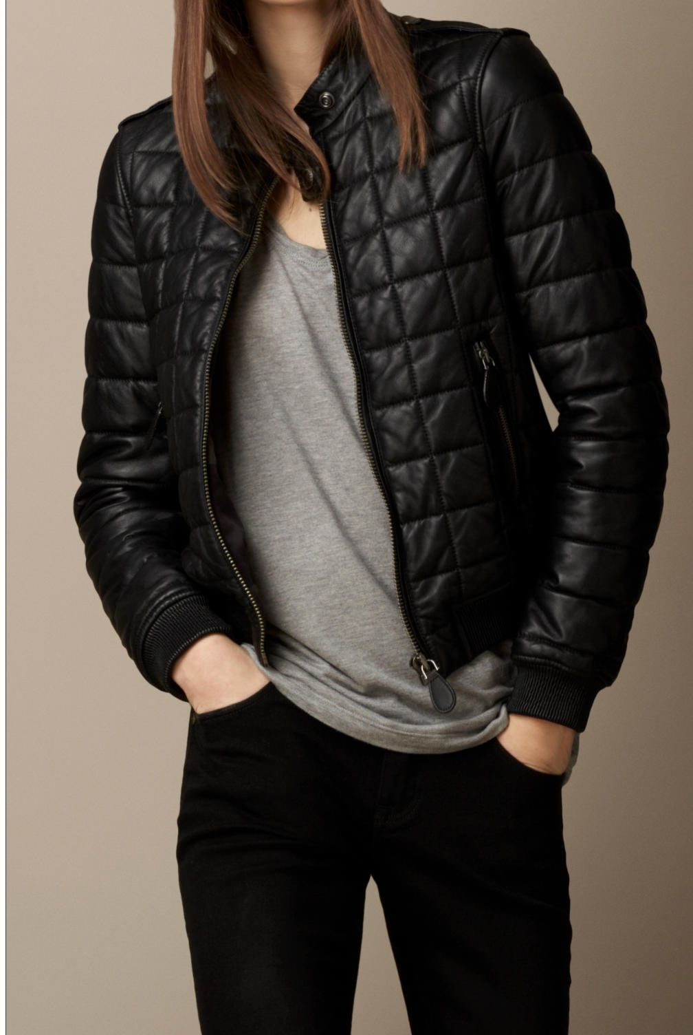 Handmade women quilted leather jacket, women black quilted
