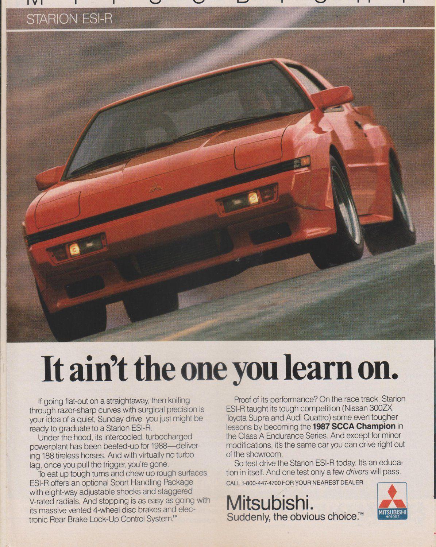 1987 Mitsubishi Starion ESI-R Turbo Original Magazine Advertisement
