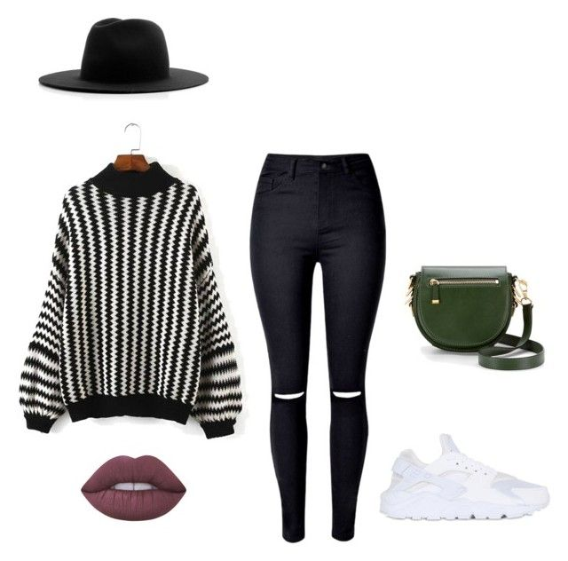 """""""✨"""" by elleennaap ❤ liked on Polyvore featuring Rebecca Minkoff, WithChic, NIKE, Lime Crime and Études"""