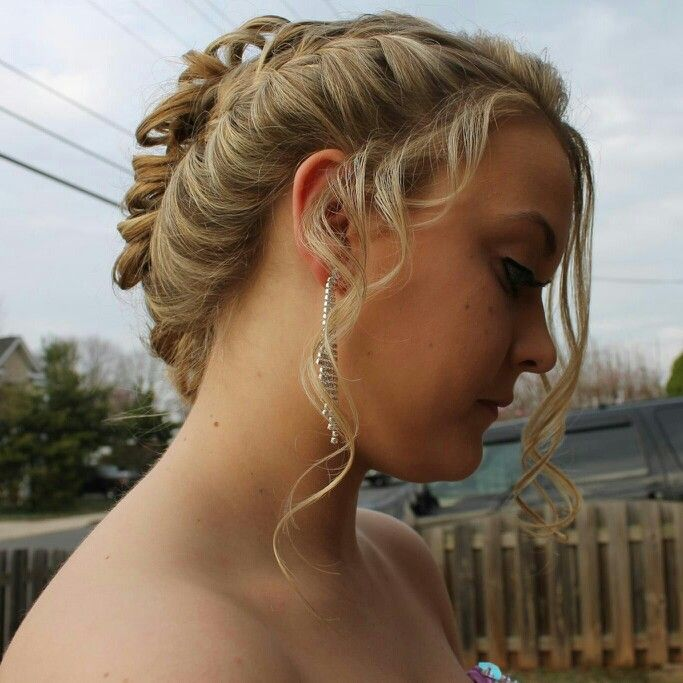 Prom 2014. Loose side braid going into low pinned curls ...