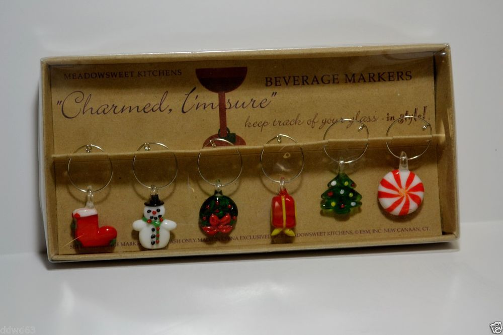 Meadowsweet Kitchens Christmas Wine Charms Wine Glass Markers 1C