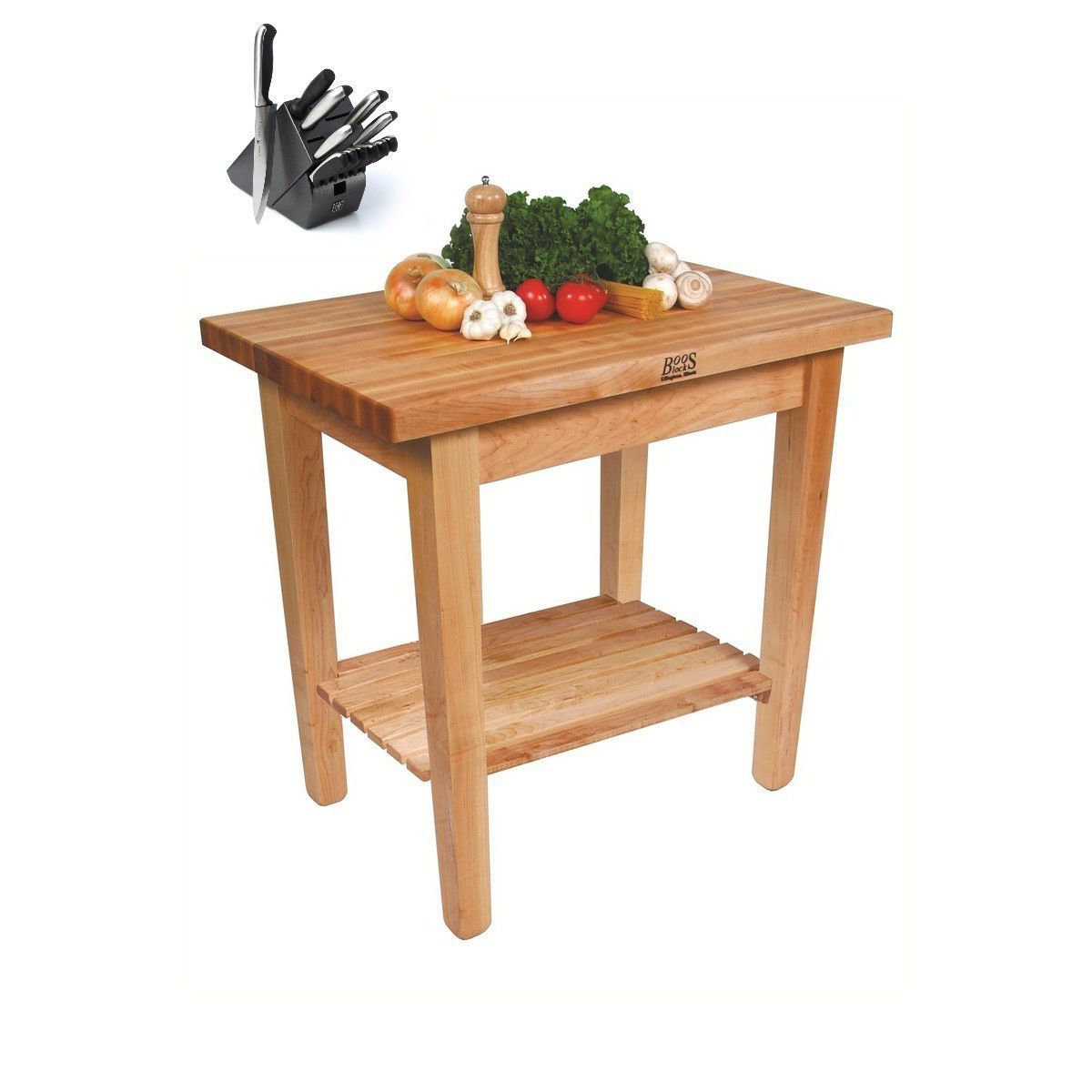 John Boos C01-S-TLR 36x24 Country Maple Table with Henckels 13-piece ...