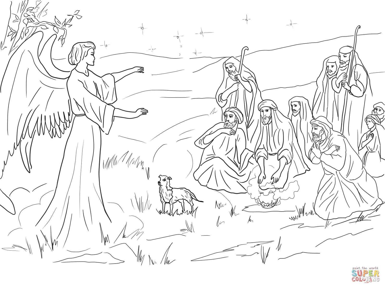 Shepherds And Angel Angel Coloring Pages Nativity Coloring