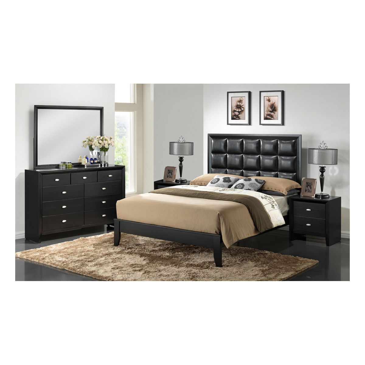 5 star master bedrooms  Carolina Black Piece Modern Bedroom Set  Products  Pinterest