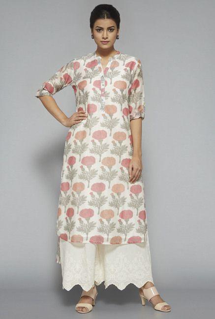 0fc33434da87 Westside: Zuba Off White Floral Print Kurta | Fashion: SALWAAR KURTA ...