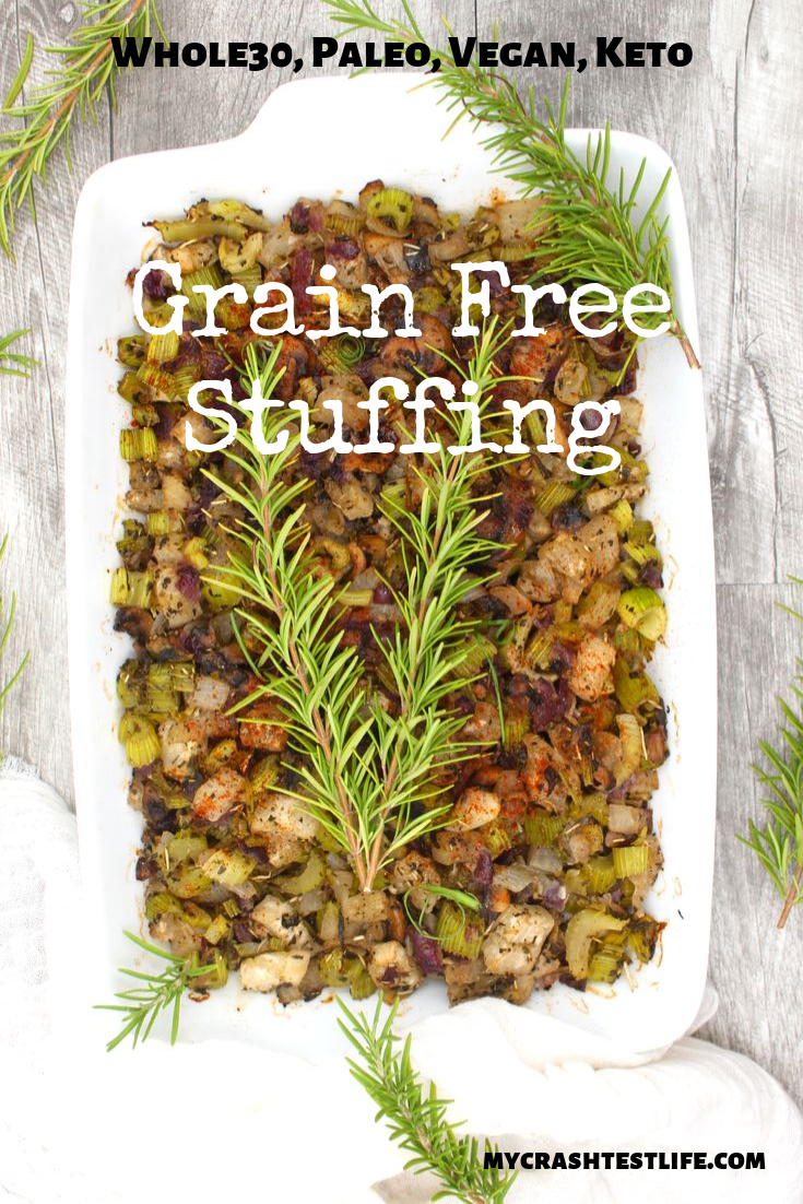 This super simple yet absolutely delish Grain-Free Stuffing recipe is sure to be a crowd-pleaser. Filled with chopped vegetables and cooked sausage, this Grain-Free Stuffing will be the biggest hit at your Thanksgiving or Christmas dinner.
