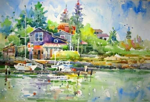 I'm posting a pair of watercolor artists: the first, Carole Hillsbery, creates beautifully detailed landscapes and portraits that I didn't think was possible with watercolor. Many of them contain surprisingly strong, solid lines that give the paintings a very realistic look, while still allowing the dreamy feeling that is inherent in watercolors.