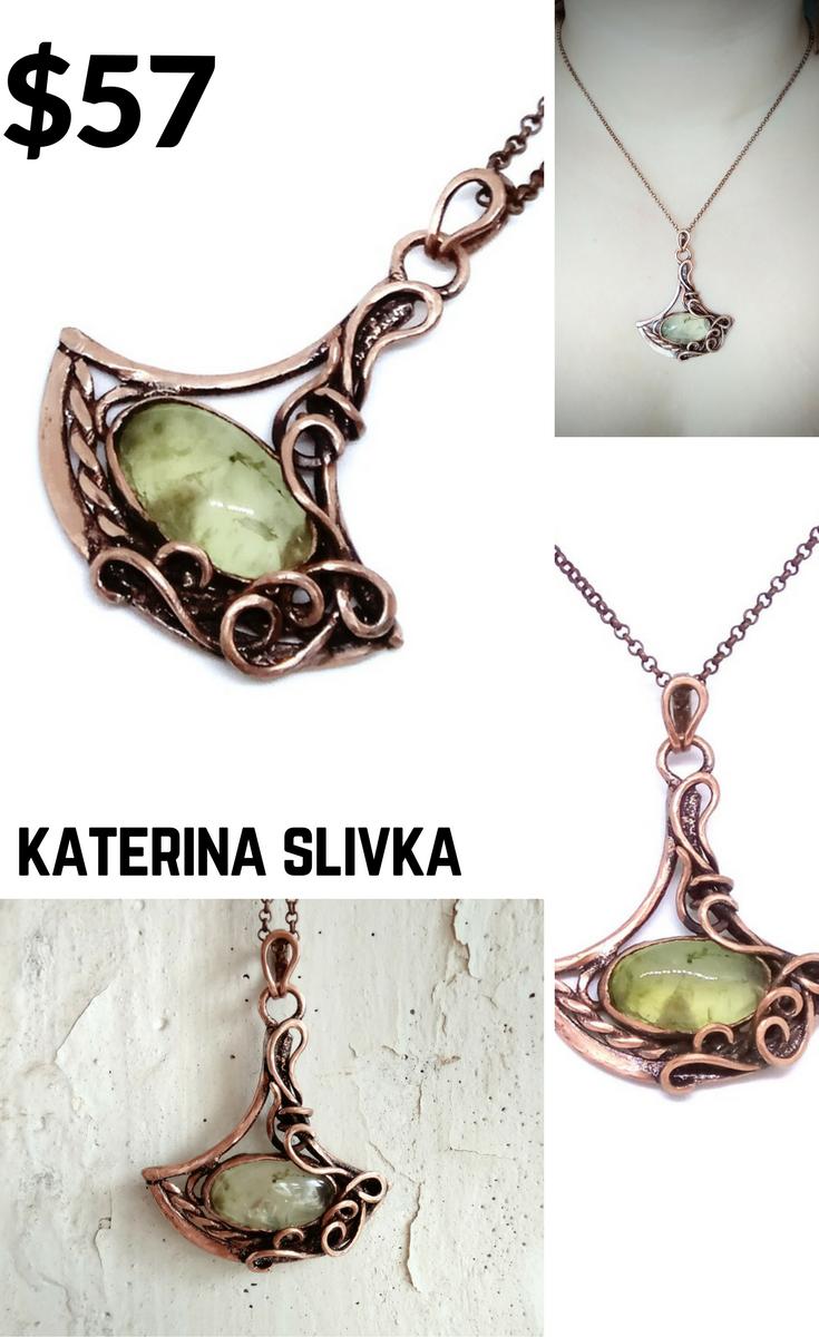 Wire wrapped copper prehnite necklace Unique gift idea for woman ...